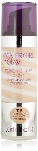CoverGirl et Olay Tonerehab 2-en-1 Foundation, Classic Ivoire 110, 1 once liquide