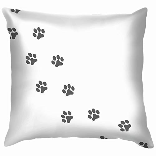 (Gray Prints Paws Dog Isolated On Animals Wildlife Paw Cotton Throw Pillow Case Cushion Cover Home Office Decorative, Square 12X12 Inch)