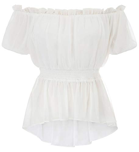 Women Vintage Shirts Off Shoulder Elastic Waist Short Sleeve Ruffle Top Whirts S White for $<!--$22.99-->
