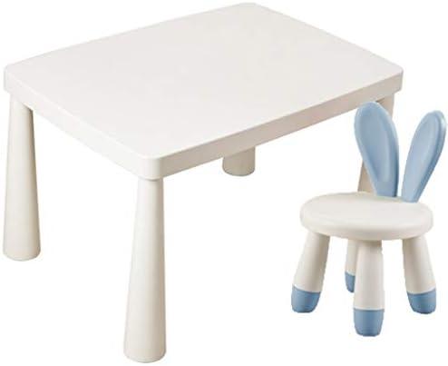 学習デスク 子供の学習テーブルと椅子セット、幼稚園のキッズデスクセット 、プラスチック製のインタラクティブワークステーション、バニーチェア付きの家庭用おもちゃテーブル、2-8歳の子供向け (Color : Blue+white)
