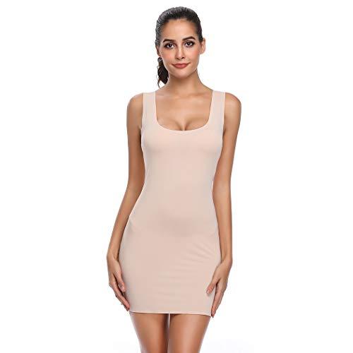 Full Slips for Under Dresses Women Long Cami Slip Dress Seamless Shapewear Body Shaping Slip (Beige, L/XL)