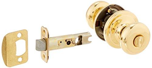 round brass door knob with lock - 3
