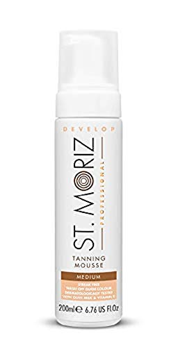 St. Moriz Self Tanning Self - Tanning Mousse Color Medium (With Olive Milk and Vitamin E) 6.7 oz (Best Vitamins For Tanning)