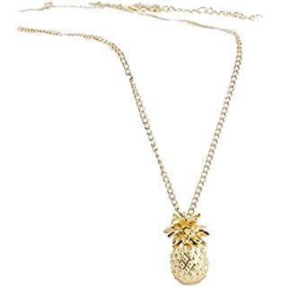 Zittop Gold Plated 3D Cute Pineapple Fruit Pendant Charm Necklace