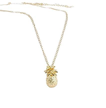 da15eea2d69e5 Zittop Gold Plated 3D Cute Pineapple Fruit Pendant Charm Necklace