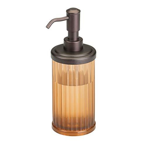 mDesign Fluted Plastic Refillable Liquid Soap Dispenser Pump Bottle for Bathroom Vanity Countertop, Kitchen Sink - Holds Hand Soap, Dish Soap, Hand Sanitizer, Essential Oils - Amber/Bronze (Pedestal Sink Dispenser Soap)