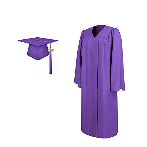 - 2019 Matte Adult Graduation Gown Cap Tassel Set (Purple, 51''[5'6''-5'8''])
