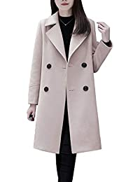 3ebed6046ae Women s Basic Essential Double Breasted Mid-Long Wool Blend Pea Coat