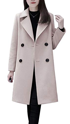 chouyatou Women's Basic Essential Double Breasted Mid-Long Wool Blend Pea Coat (XX-Large, Off White) - Double Cashmere Breasted