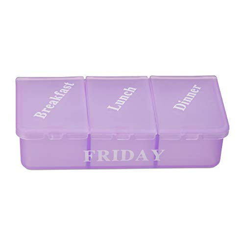 Relaxdays 7Day Pill Box Weekly Medicine Case 3 Compartments Breakfast Lunch Dinner BlackMulticolour