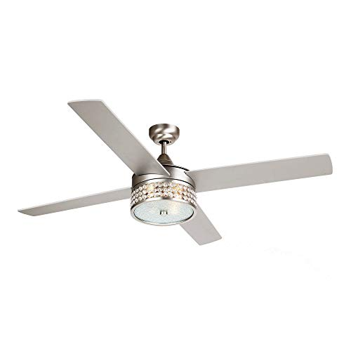Ceiling Fan with Lights 52 Inch Remote Control Ceiling Fan 4 Blades Crystal Chandelier Fans 3000K LED Warm Yellow Lights, Satin Nickel