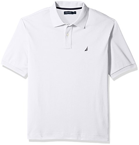 Nautica Men's Big and Tall Classic Fit Short Sleeve Solid Soft Cotton Polo Shirt, Bright White, 2XLT -