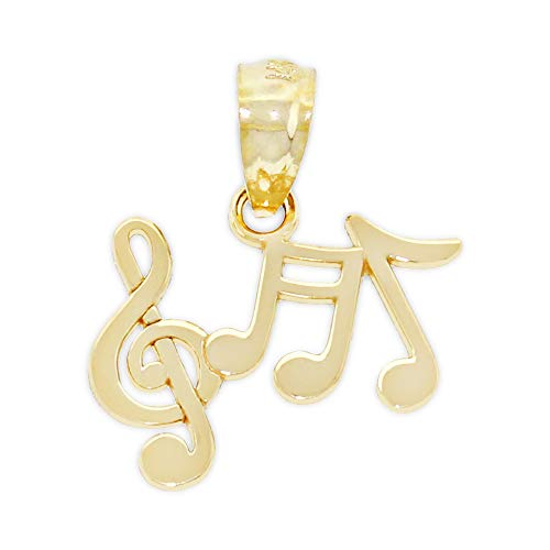Charm America - Gold Music Notes Charm Pendant - 14 Karat Solid Gold