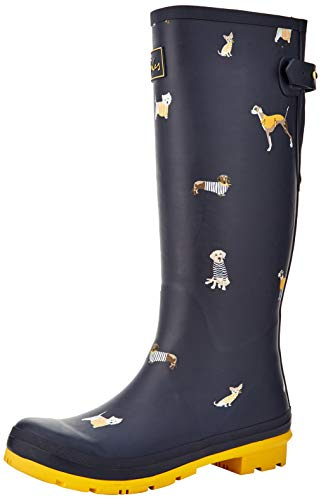 Joules Women's Welly Print Rain Boots (Navy Harbour Dogs)