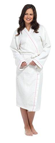 Mesdames Blanc 100% Coton Gaufré Peignoir Peignoir Peignoir avec ceinture