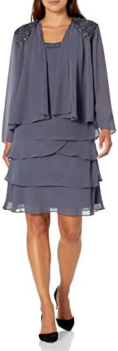 S.L. Fashions Women's Tiered Dress and Coordinating Jacket Two-Piece