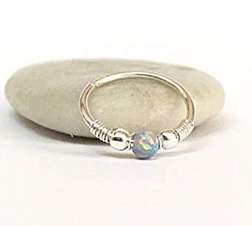 Opal Nose Ring Cartilage Earring Daith Helix Septum Hoop 18g 20g 22g ()