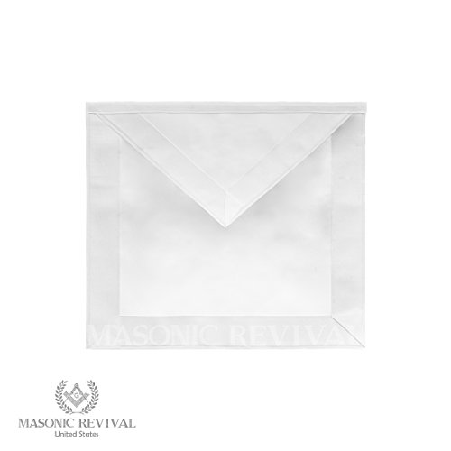 "Masonic Revival - White Candidate Member Apron with Border (Synthetic Leather - 14""x16"")"
