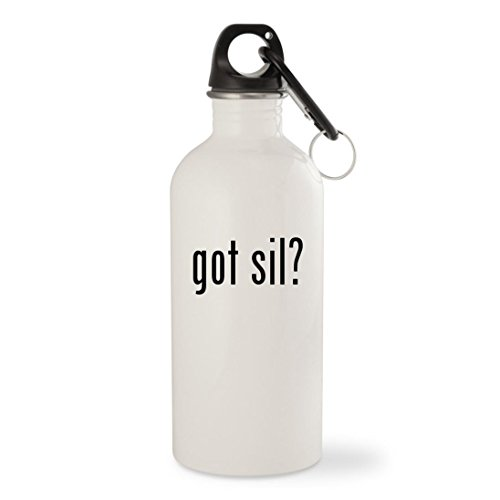 Got Sil    White 20Oz Stainless Steel Water Bottle With Carabiner