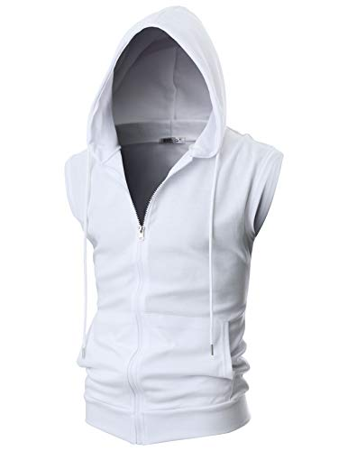 OHOO Mens Slim Fit Sleeveless Lightweight Zip-up Hooded Vest with Single Slide Zipper/DCF012-WHITE-S