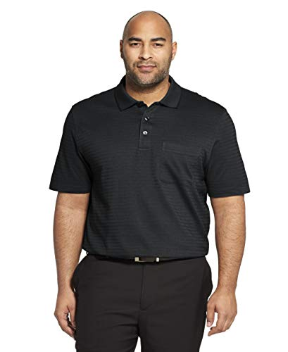 (Van Heusen Men's Big and Tall Flex Short Sleeve Stretch Stripe Polo Shirt, Black, 3X-Large)