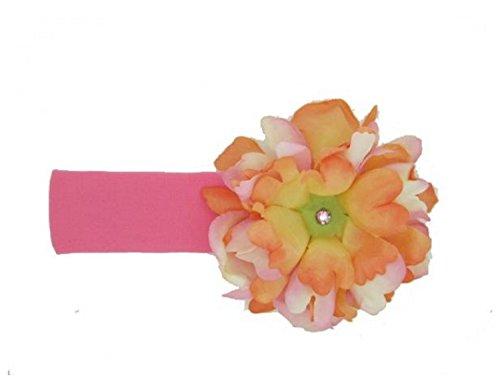 Jamie Rae Hats Candy Pink Soft Headband with Orange Pink Small Peony, Size: 12m+