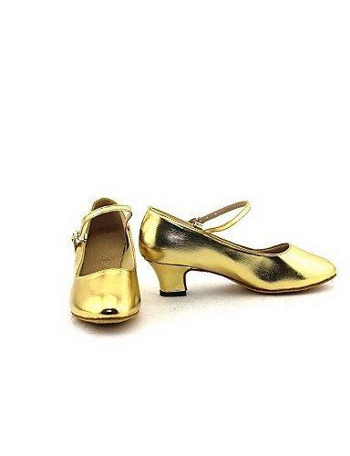 de ShangYi artificial moderno grueso Tacón Cuero mujer para Oro Zapatos baile Plata Plata dYqEwdF