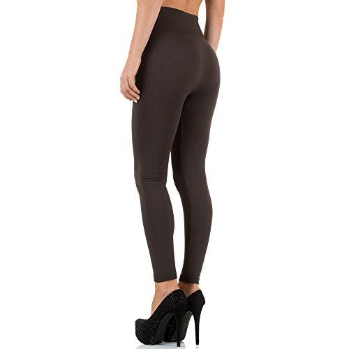 Damen Leggings, WARM GEFÜTTERTE HIGH WAIST ZIPPER, SS-BPFAN0073, Braun, ONE SIZE