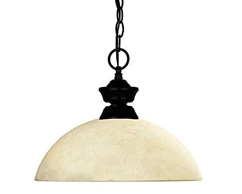 (Z-Lite 100701MB-DGM14 Windsor One Light Pendant, Steel Frame, Matte Black Finish and Golden Mottle Shade of Glass Material)
