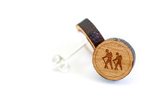 Price comparison product image WOODEN ACCESSORIES COMPANY Wooden Stud Earrings With Hiking Laser Engraved Design - Premium American Cherry Wood Hiker Earrings - 1 cm Diameter