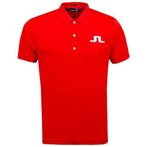 J.Lindeberg Men's Big Bridge Jersey Polo Shirt, Racing red, Medium (Racing Polo Mens)