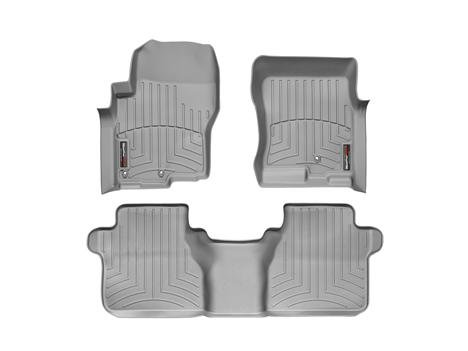 2005-2015 Nissan Frontier-Weathertech Floor Liners-Full Set (Includes 1st and 2nd Row)-Fits Crew Cab with Two Retention Hooks On Driver Side-Grey