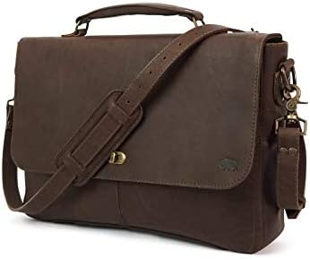 Genuine Leather Messenger Bag for Men Denver by Buffalo Jackson Fits 13 , 14 , 15 Laptops Made in North America