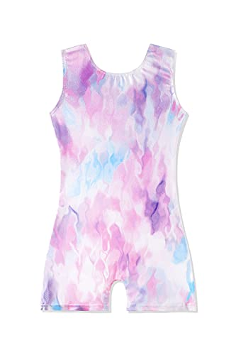 leotards for toddler girls gymnastics 3t 4t 3-4t with shorts pinkish tie dye biketard for kids Pink blue purple colorful apparel dance clothing