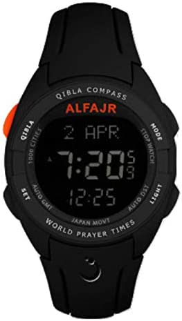 Alfajr WQ-18 Black Qibla Compass Nimaz Prayer Azan Watch with Rubber Strap – for Men Women
