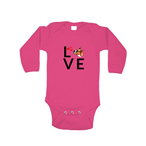 Baby Boxer Dog (BOXER DOG Love Hearts Long Sleeve Baby Bodysuit One Piece Hot Pink 12 Months)