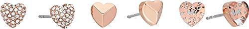 Michael Kors Women's Love Logo Heart Stud Set Earrings Rose Gold One - Logo Michael Kors Gold
