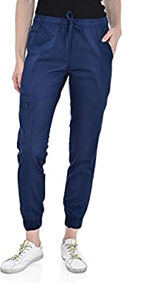 Marilyn Monroe Women's Stretch Slim Fit Jogger, 5 Pockets with Zipper Closure Side Pocket, Soft Stretch Medical Scrub Pants