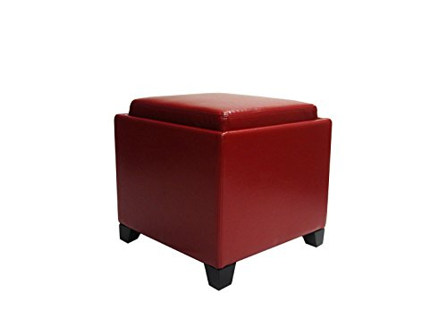Armen Living Storage Ottoman with Tray in Red