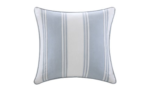 Harbor House Crystal Beach Pieced Fashion Cotton Throw Pillow, Coastal Striped Square Decorative Pillow, 18X18, White with Blue Strapping - To add a new element to this coastal bed, this pieced white and blue pillow adds stripes to offset the seashell and coral motifs. 100-percent cotton solid, same style as euro sham Measurements: 18 by 18-inch - living-room-soft-furnishings, living-room, decorative-pillows - 31cteGtCshL -