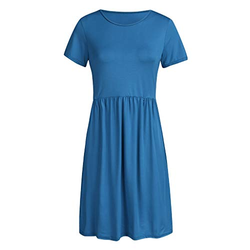 WILLBE Women's Short Sleeve Dress Pleated Waist Loose Swing Plain Casual Mini T Shirt Flare Dress Pockets Summer O-Neck -