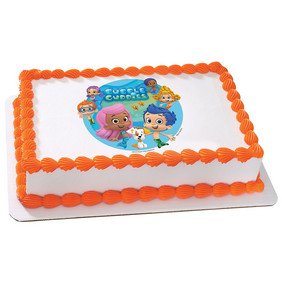 8 inch ~ Bubble Guppies Characters Background Birthday ~ Edible Image Cake/Cupcake Topper!!!