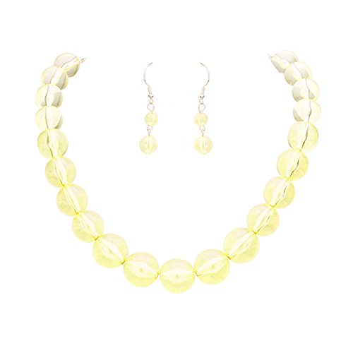 Chunky See Through Transparent Yellow Lucite Acrylic Bubble Bead Necklace 18