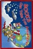 (Joy Carpets Kid Essentials Language & Literacy Books Can Take You Anywhere Rug, Sky Blue, 3'10