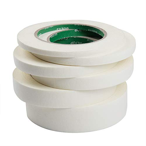 (MEEDEN Masking Tape White, 0.23/0.35/0.47/0.59/0.79/1.18 Inch×55Yard, 6 Rolls Assorted Sizes Strong Masking Tape, Each 55 Yard Roll General Purpose for Labeling, Painting, Packing and More)