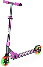 GOTRAX KX6 Foldable Kick Scooter Suitable for 4-10 Years Old, 6 inch Big PU Flash Wheels, 3 Adjustable Heights