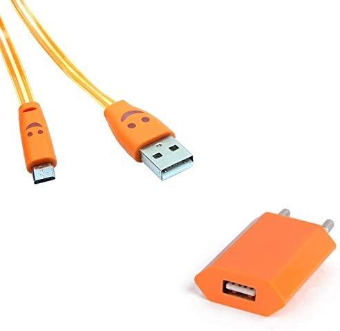 Pack Cargador para ZTE Blade L3 Smartphone Micro USB (Cable Smiley LED + Toma de Corriente USB) Android Conector (Naranja): Amazon.es: Electrónica
