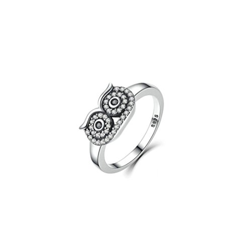New! Balakie Fashion Women Jewelry Ring Creative Owl Diamond Ring Wedding Party Ring (Silver, 6)