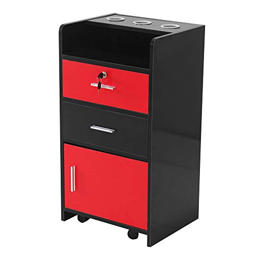 Idealbuy Salon Wood Rolling Drawer Cabinet Trolley Spa 3-layer Cabinet Equipment with A Lock Black & Red