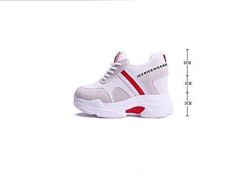 Traspiranti Donna Piccole Sneakers Nuove In Syw Aumento Casual Versatili Mesh Bianche Da Zeppe Scarpe Interno Gules 5x0tI51wq